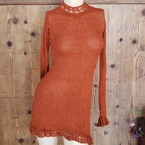 VINTAGE like rust crochet mock neck tunic x-small